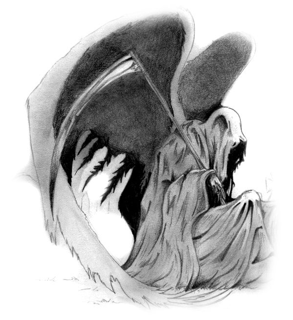 Grimreaper1g 600656 santa muerte pinterest grimm and in the grim reapers wing it looks like a silhouette i would it make it more pronounced so it will look like he is taking her over voltagebd Images