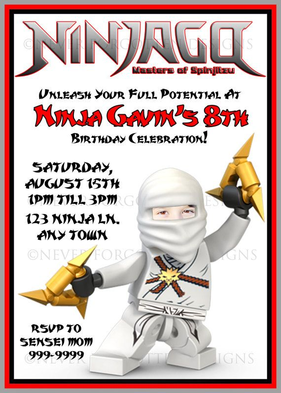 Custom Photo Zane Ninjago Invitations by Never Forgotten Designs