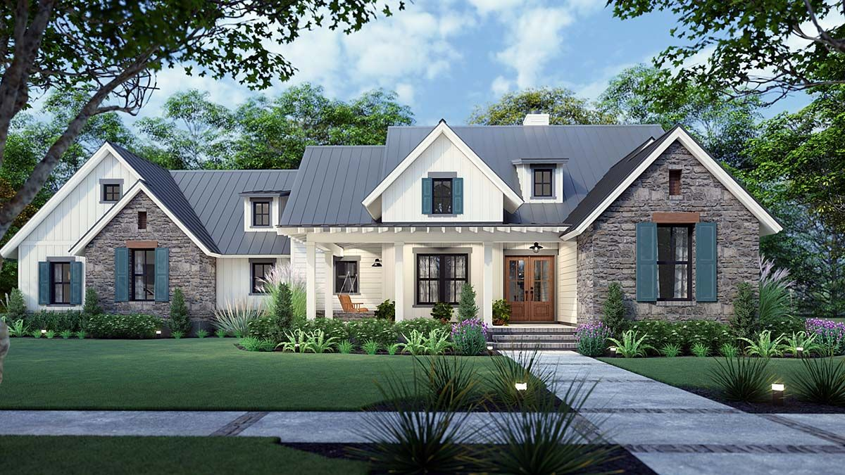 Southern Style House Plan 75167 With 3 Bed 3 Bath 2 Car Garage Modern Farmhouse Plans Farmhouse Style House Farmhouse Plans