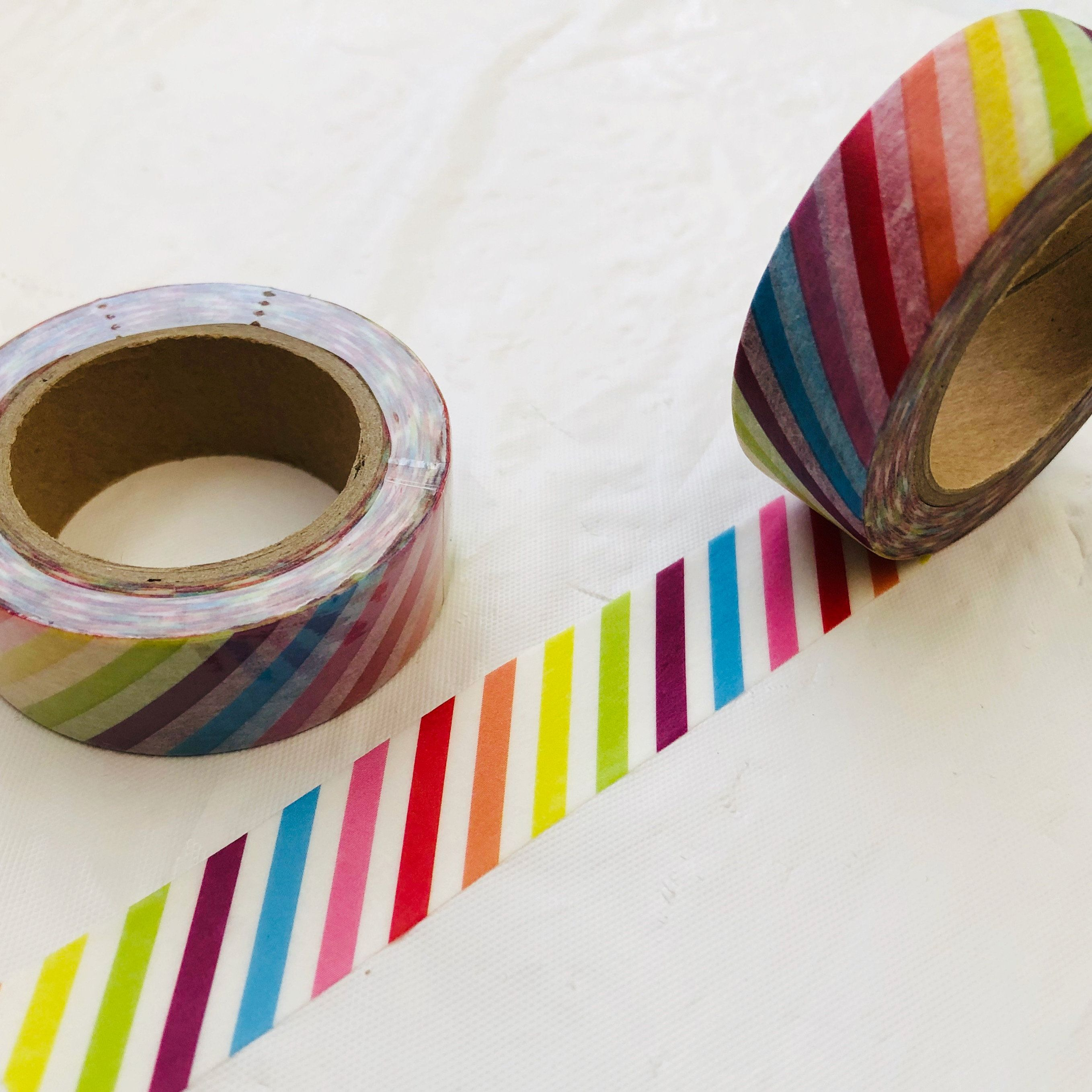 Bright Rainbow Stripe Washi Tape In 2020 Decorated Envelopes Floral Washi Washi Tape