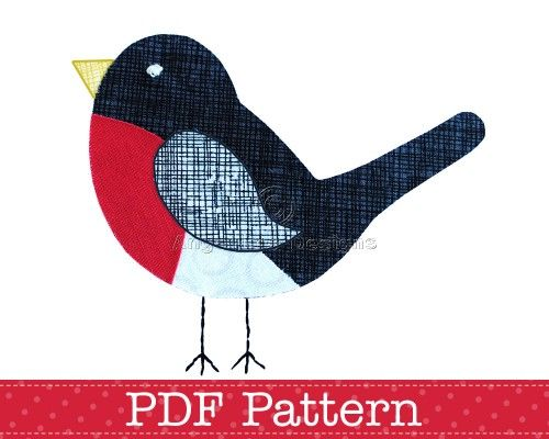 applique patterns | Robin Applique Template PDF Pattern Bird Animal Christmas Robin Design ...