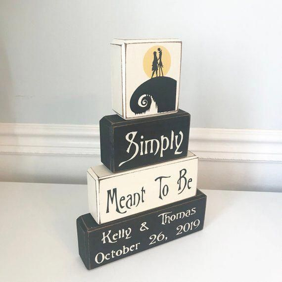 Nightmare before Christmas wedding decoration, Jack & Sally anniversary gift, simply meant to be, personalized wood sign