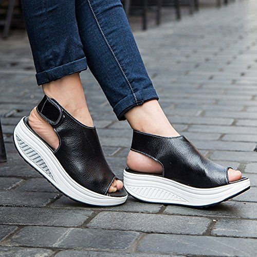 5f64e8cc22b6 SHAKE Women s Shape Ups Leather Comfort Peep Toe Walking Wedges Sandals  Platform Heeled Shoes For Women - Reviews