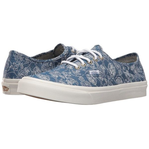 Vans Authentic Slim ((Chambray Retro Floral) Blue) Athletic Shoes (79 CAD