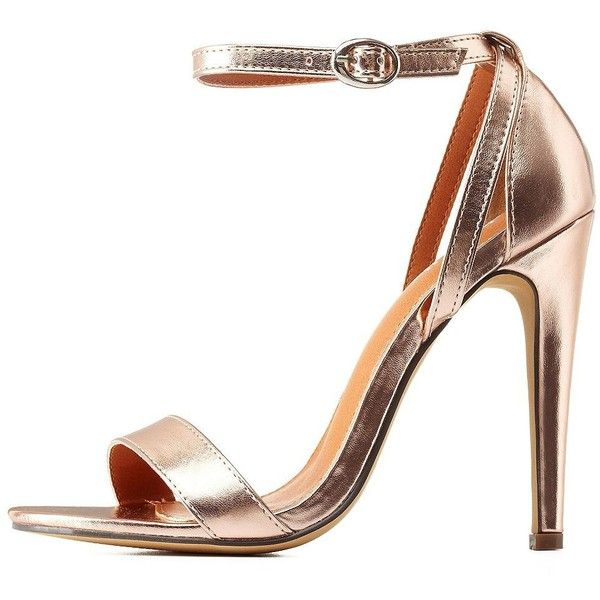 278df55e9c3 Charlotte Russe Rose Gold Strappy Metallic Single Strap Dress Sandals...  (400 ZAR
