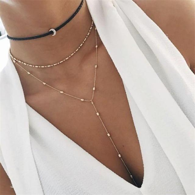 Nueva joyería retro crystal multi-layer collar suéter cadena damas colgante retro encanto collar 2019, joyería al por mayor