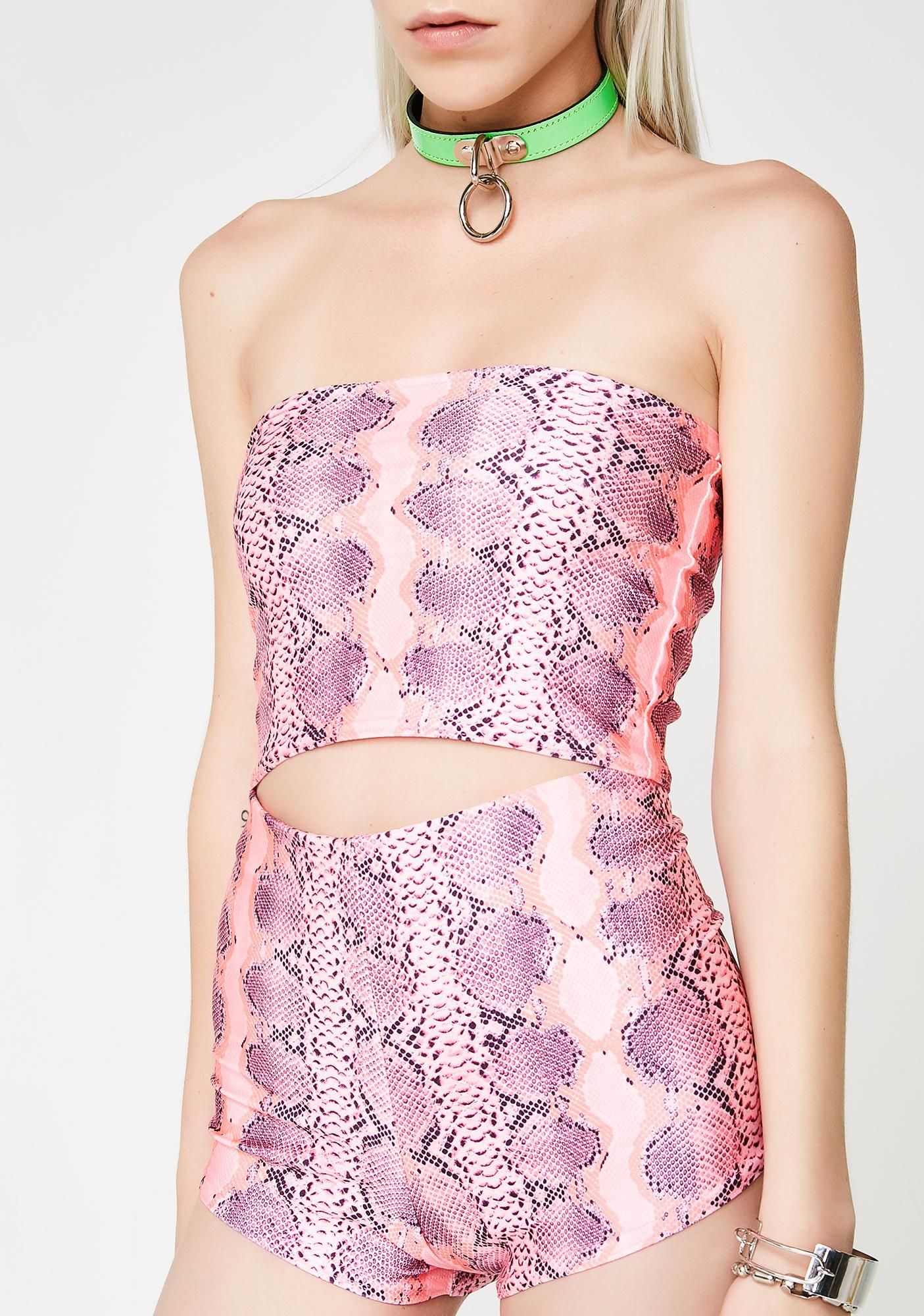 0b65c9d94b53 Slither your way to their hearts with these stretchy shorts that have a  pink snakeskin print all ova.