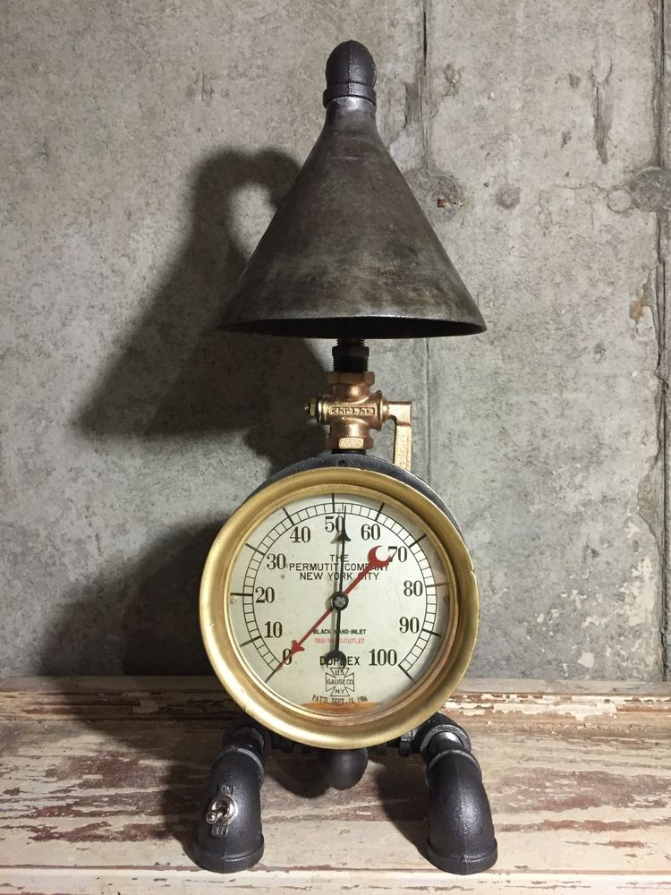 Steampunk Industrial Lamp Vintage 1906 Brass Pressure