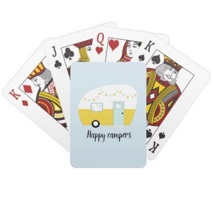Happy Campers Retro Vintage Camper Playing Cards |  - outdoor -