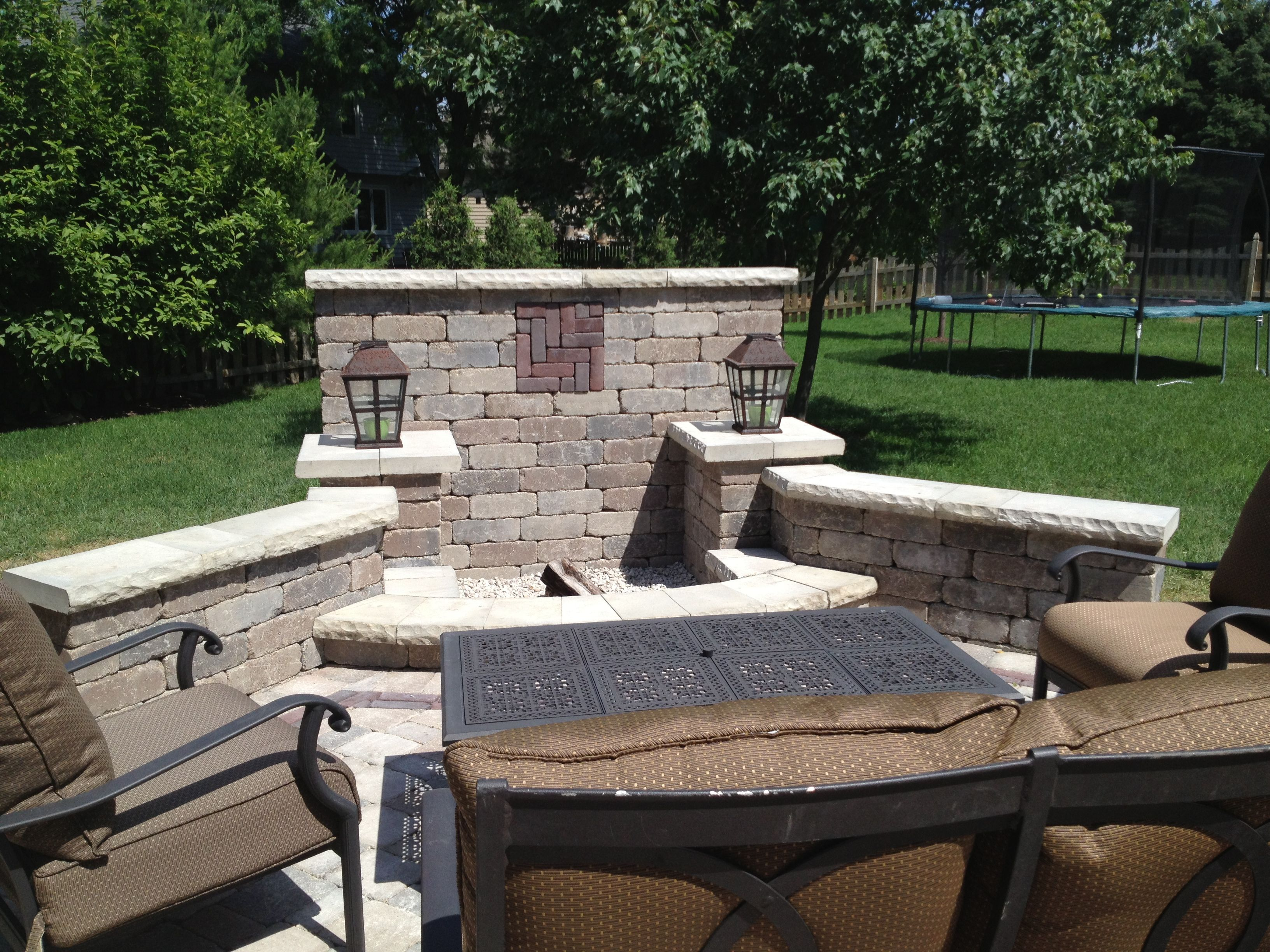 Unilock fire pit and wall with patio garden Pinterest