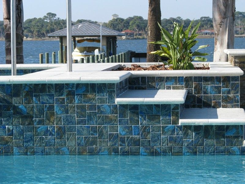 Custom Pool Tile Waterline Pool Tile Pool Houses Pool