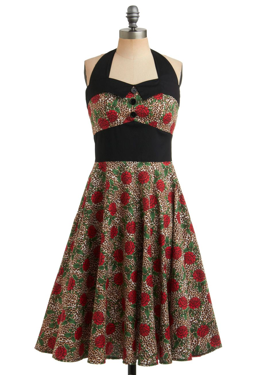 Budding Starlet Dress - Multi, Red, Green, Brown, Tan / Cream, Black, White, Floral, Animal Print, Buttons, Party, Casual, Rockabilly, Pinup, Vintage Inspired, A-line, Halter, 40s, 50s, 60s, Mid-length, Cotton
