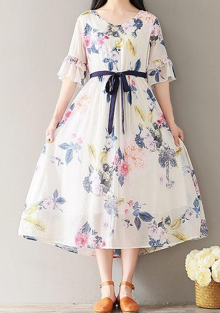 Women Loose Fit Over Plus Size Retro Flower Dress Maxi Tunic Pregnant Maternity Nice Dresses Trendy Dresses Clothes For Women