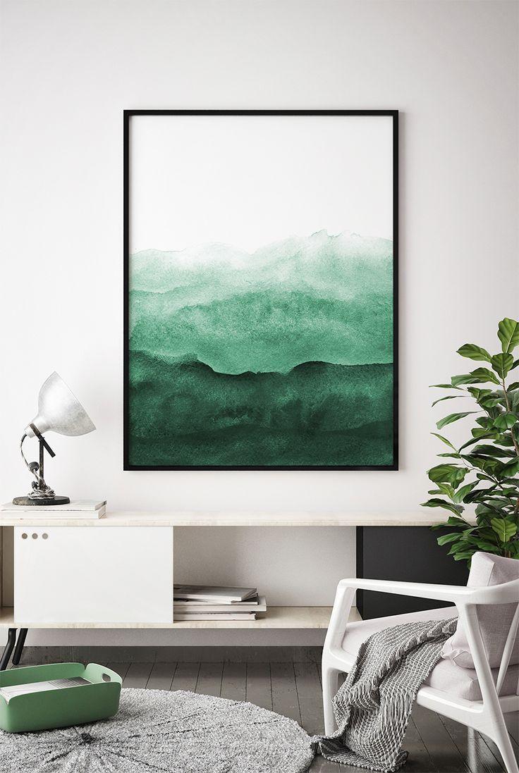living room art prints%0A Abstract Wall Art Print  Green Painting  Emerald  Teal Decor  Modern  Minimalist