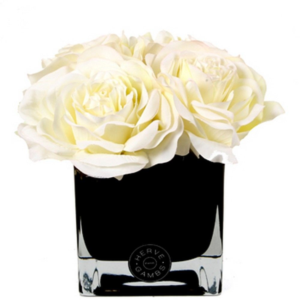 Effortlessly add the fresh flower look to your home with these discover the herve gambs white couture large roses small black glass cube at amara reviewsmspy