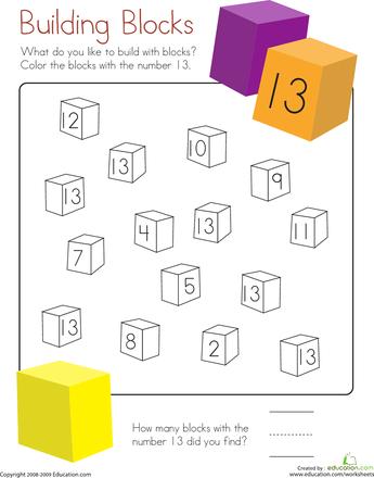 Number 13 Coloring Page Worksheet Education Com Color Worksheets Kindergarten Colors Printable Numbers