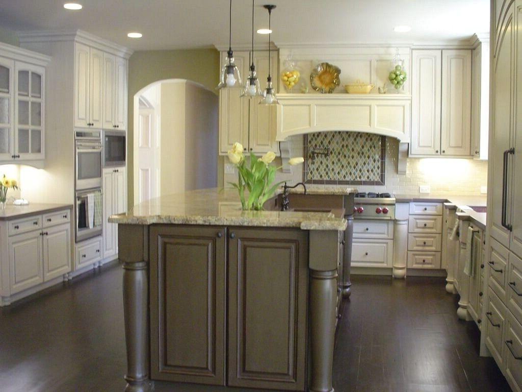 Dark Floor White Cabinet Kitchen Two Pieces Wrought Iron Bar Stools White Kitchens Dark Floors