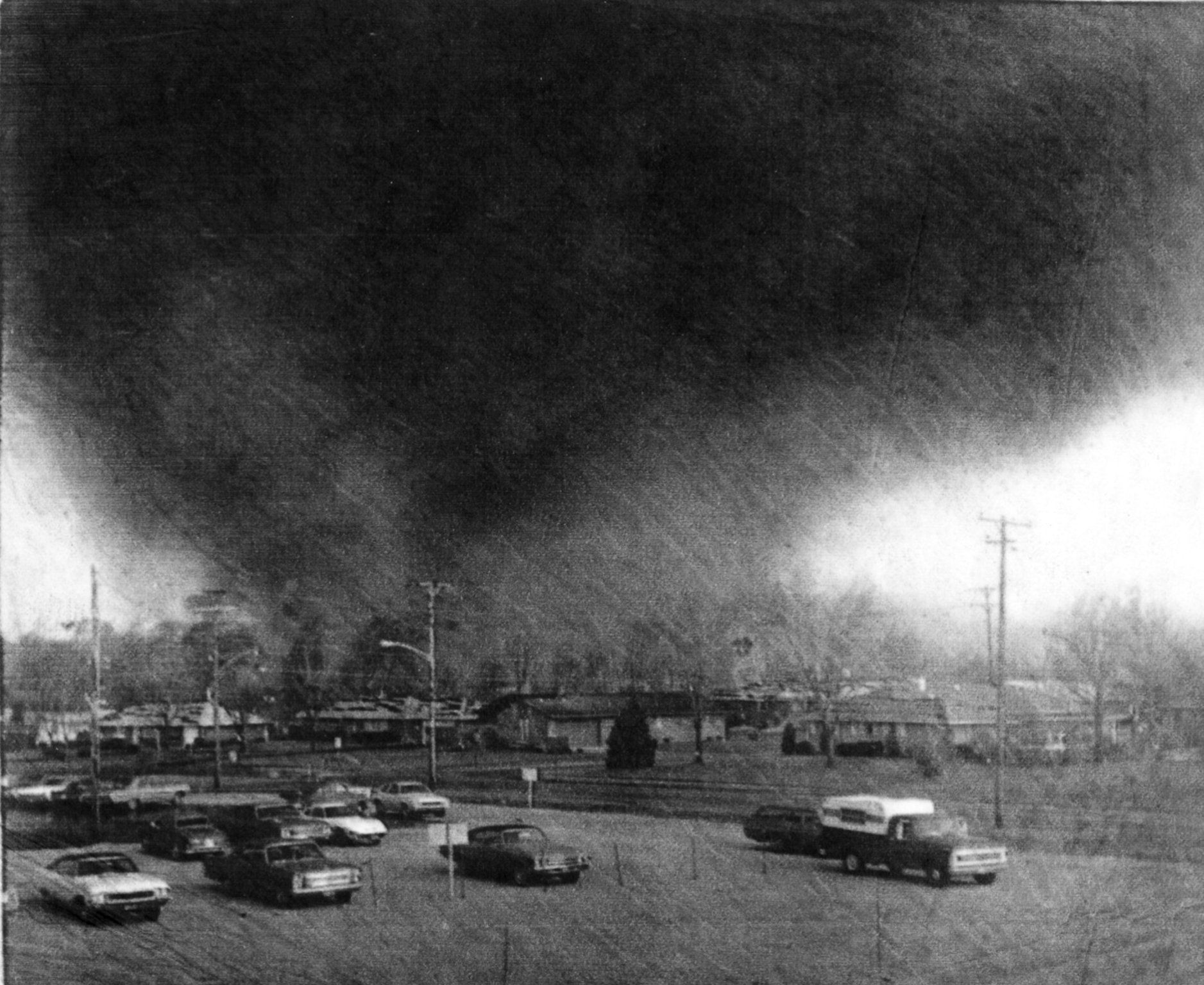 A Tornado Funnel Is Shown Moving Through Xenia In 1974 With