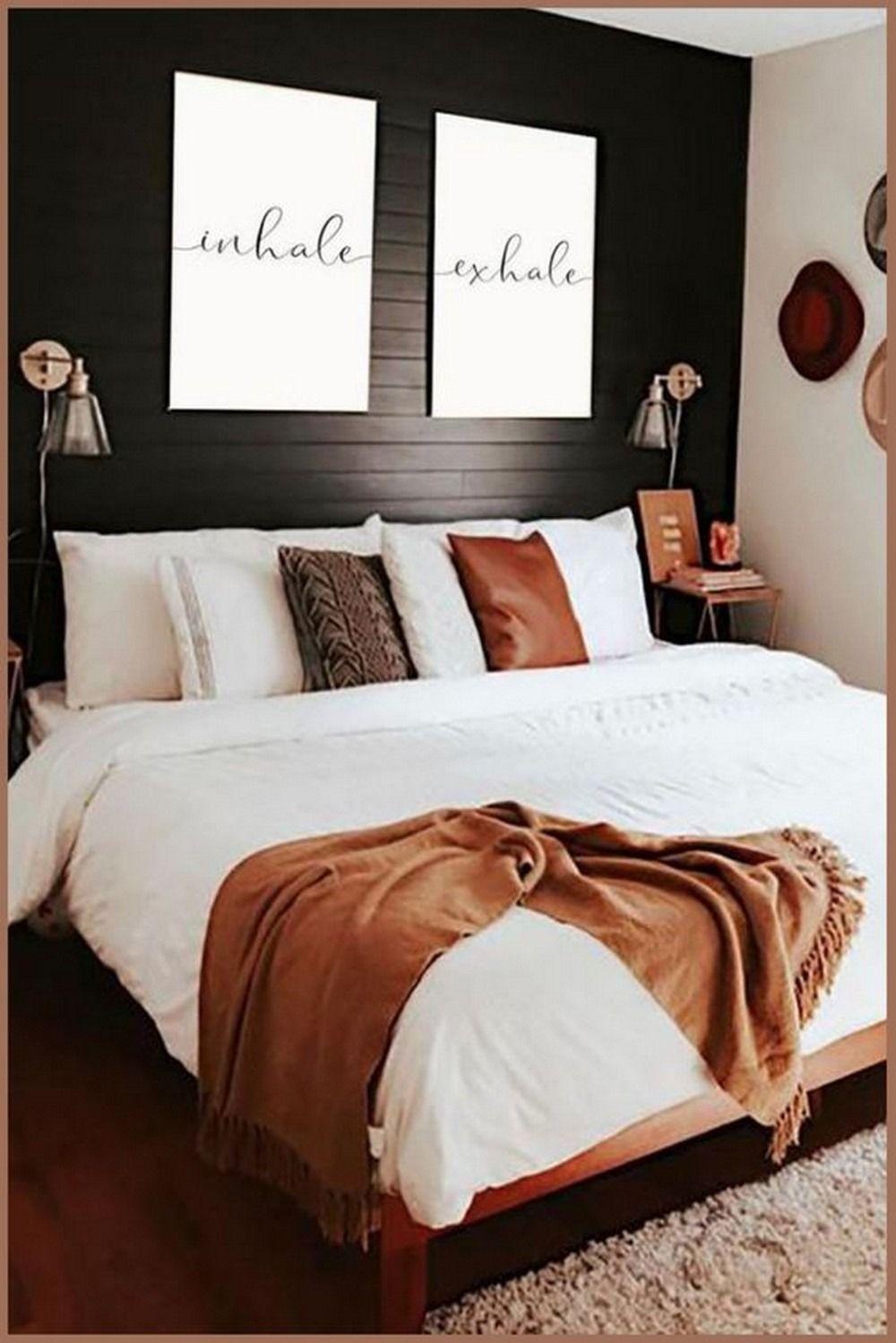 12 Borderline Genius Ways To Spruce Up Your Bedroom Decor Ideas For Couples In 2021 Black Accent Walls Bedroom Couple Bedroom