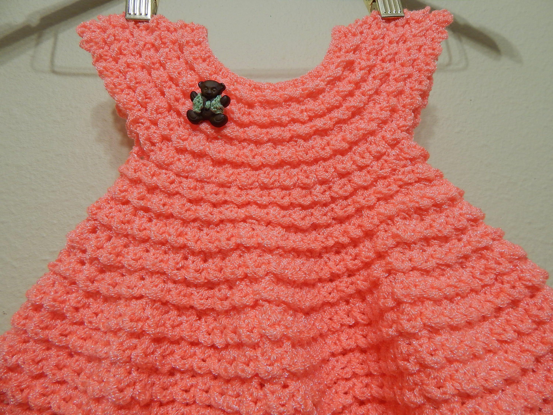 Vestido Crochet Durazno 0-3 meses y cualquier talla parte 2 de 2 ...