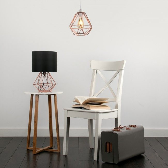 Industrial style diablo wire frame polygon diamond pendant shade this industrial style angus geometric base table lamp with coloured shade keyboard keysfo Image collections