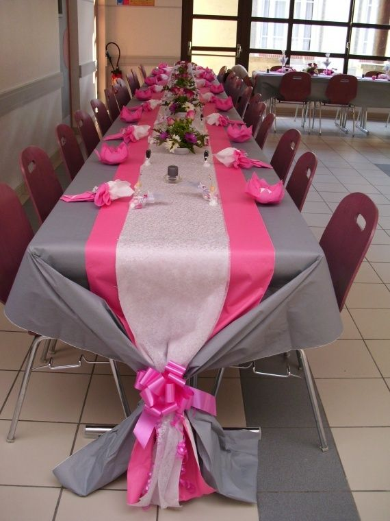 Mariage gris et fuschia decoration mariage pinterest wedding wedding table and mariage - Decoration table mariage fushia ...
