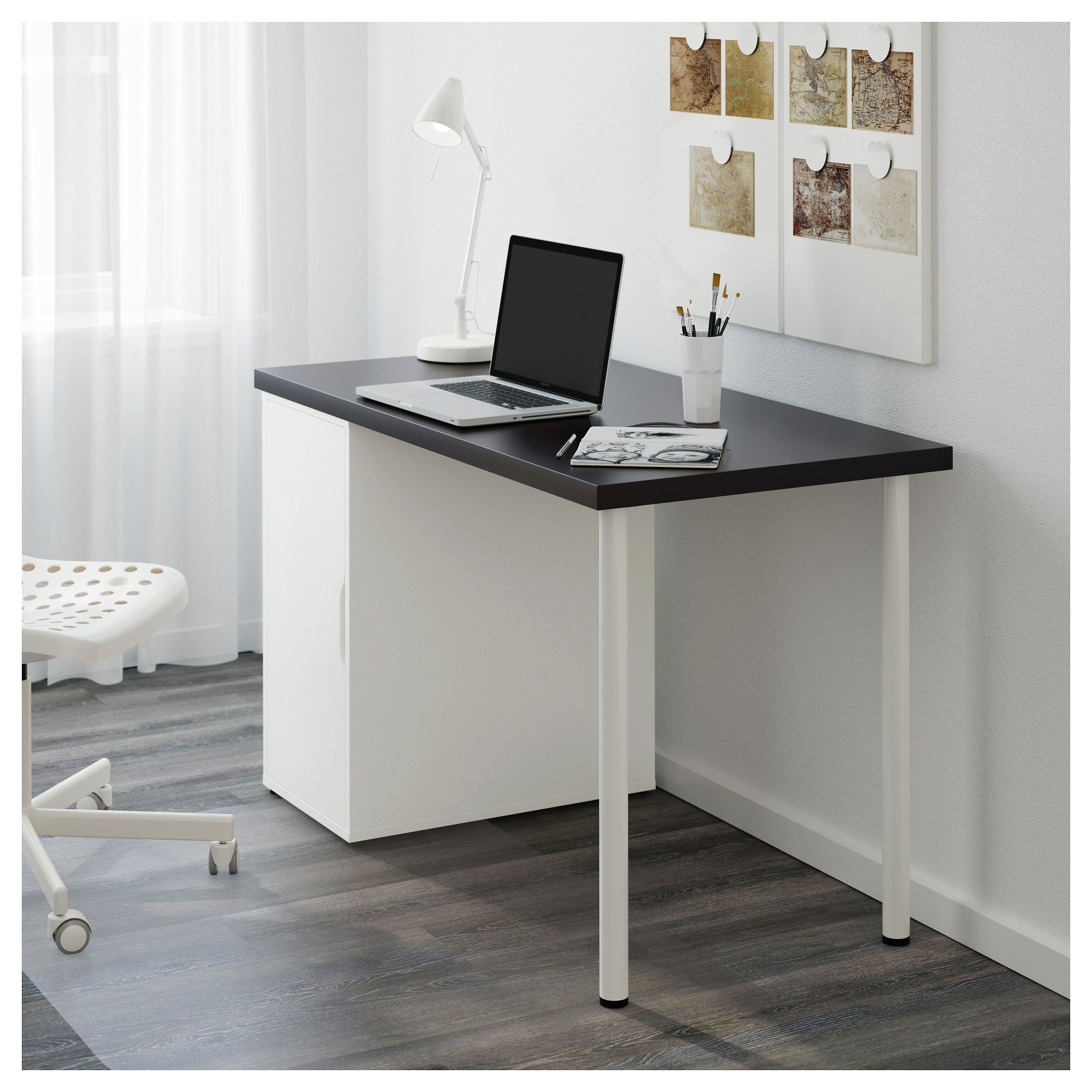 LINNMON / ALEX Table blackbrown, white 120x60 cm Home