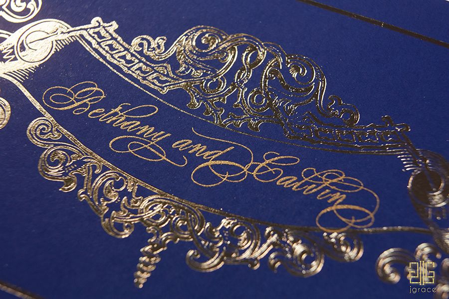 Detailed monogram and gold foiling from The Fontainebleu Collection by J Grace