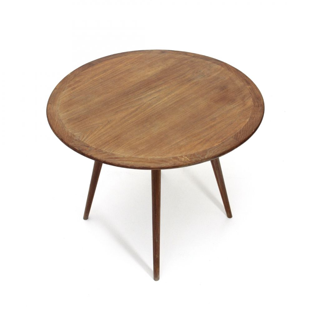 Wooden Coffee Table With Round Top 1950s Coffee Table Wooden