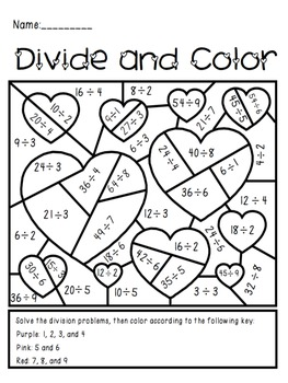 Valentine S Day Divide And Color Activity Fraction Activities