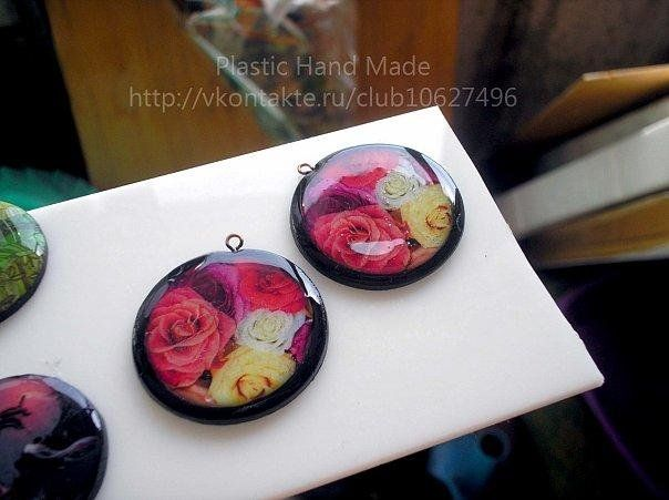 Polymer Clay Pendent: Transfer image to clay and use resin to apply finish...nice.