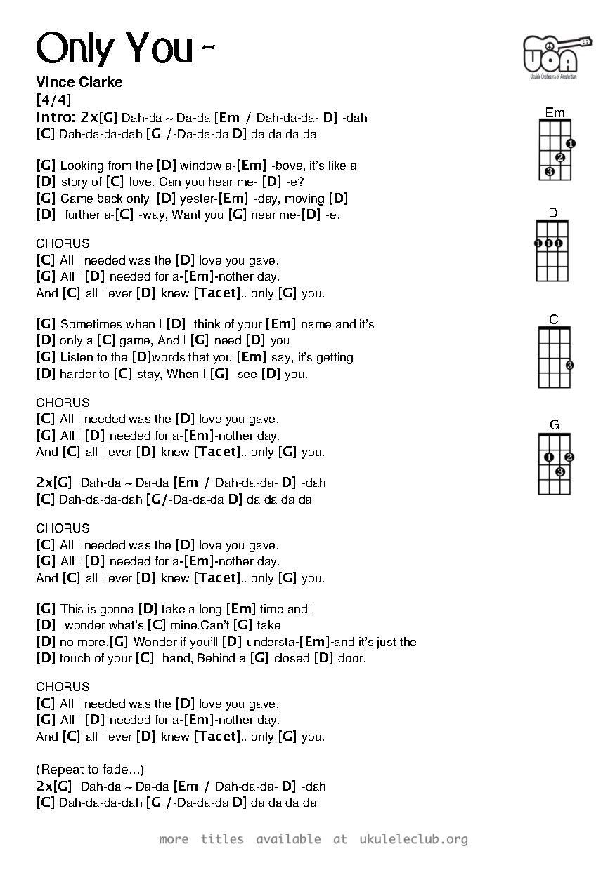 Only You Ukulele Songs Ukulele Ukulele Chords
