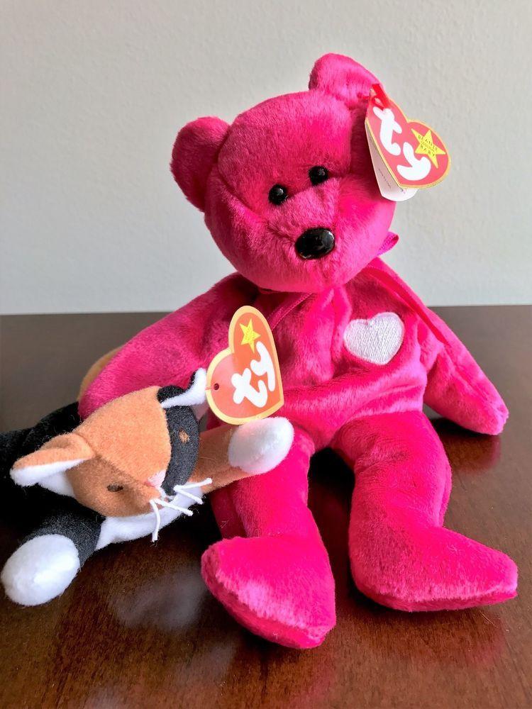 977a6c7c440 Rare VALENTINA Beanie Babies w Gasport error + Chip the Cat (McDonald s)  Teenie