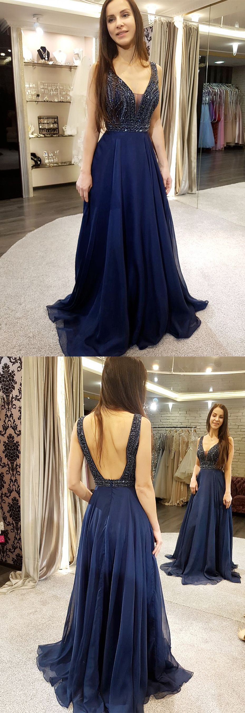 Gorgeous prom dress navy blue chiffon long prom dress v neck