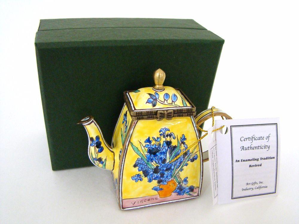 Superior KELVIN CHEN Enamel Hinged Miniature Teapot Van Gogh Vase With Iris ENK818 Nice Look