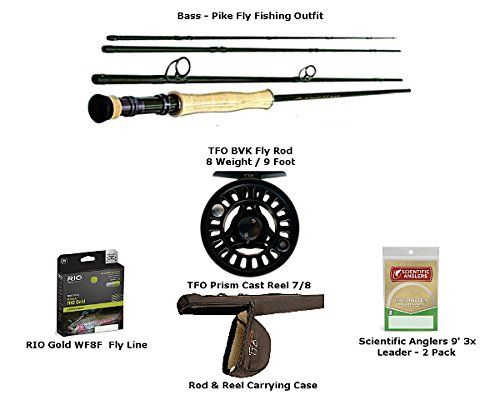 The Ultimate Bass Pike Fly Fishing Rod And Reel Combo Tfo Bvk 8wt 90 4 Piece Fly Rod Tfo Prism 78 Reel Pike Flies Fly Fishing Rods Fly Fishing Rod And Reel