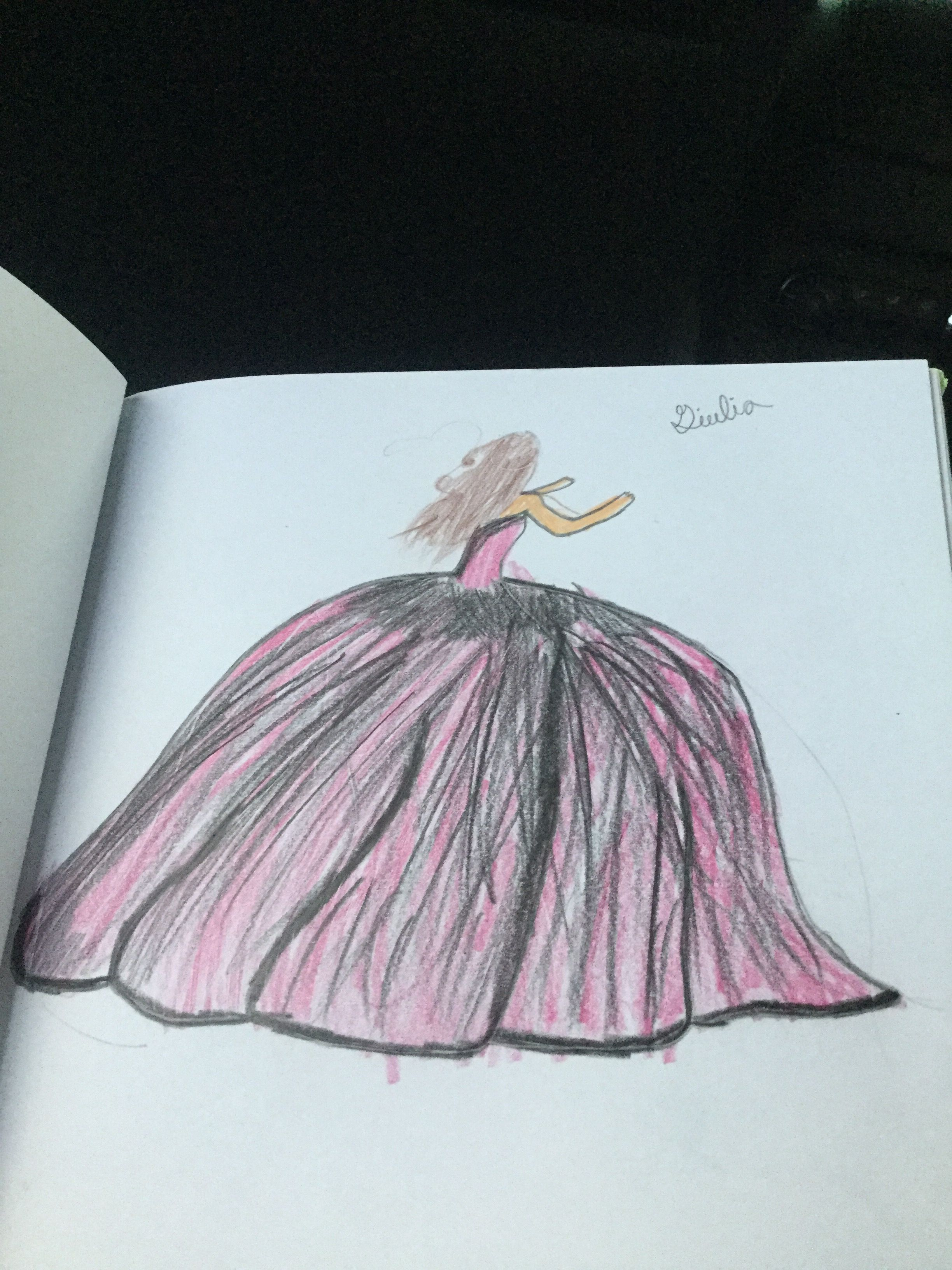 Pink dress drawing  Pin by Giulia on Drawing  Pinterest