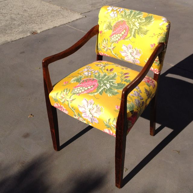 Finished bridge chair with fabric pattern matching!