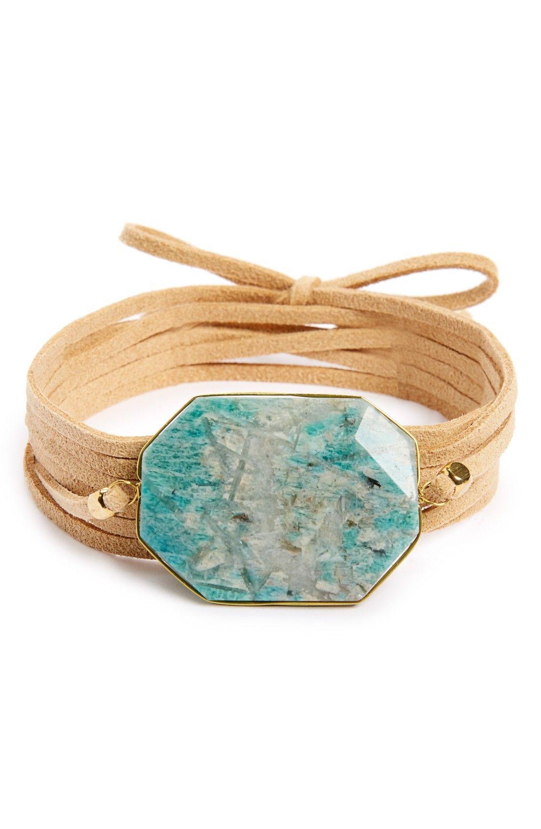 Stone & Suede Wrap Bracelet