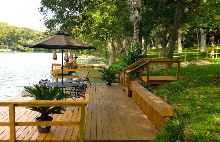 Dock is perfect for fishing or just relaxing and reading a for Lake mcqueeney fishing