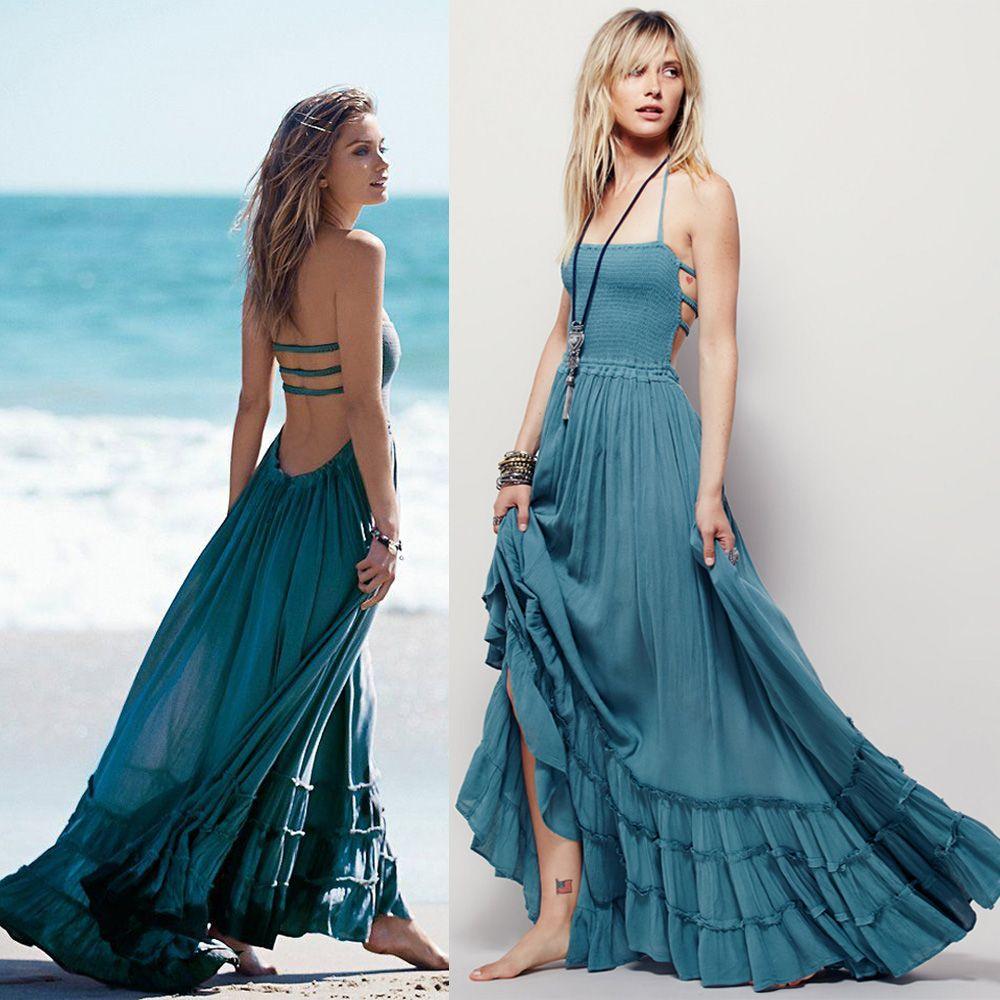 women Boho dress people maxi Bohemian beach dres solid colors ...