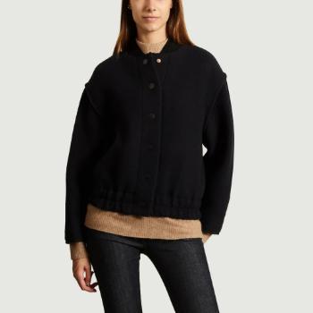 See by Chloe Navy Blue Wool Bomber Jacket - Trouva #seebychloe