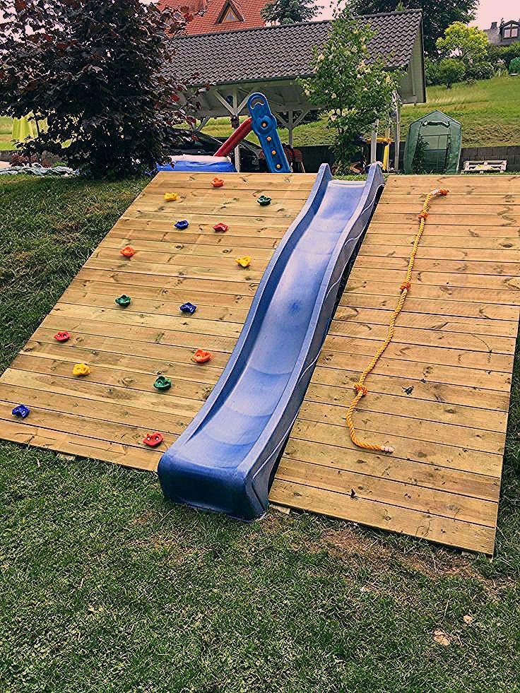 Photo of Rutsche und Kletterwand im Garten – Kinder Blog