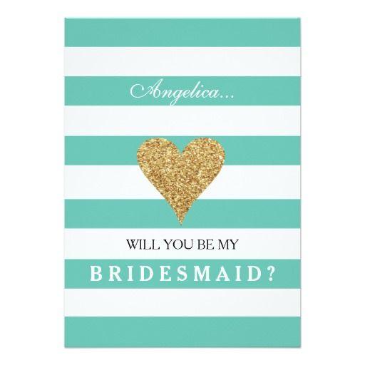 Tiffany Blue Will You Be My Bridesmaid Striped Gold Shimmer Heart Invitation Invite Card   #wedding #bridesmaid