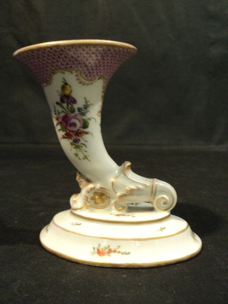 Antique Meissen Crossed Swords Porc Miniature Cornucopia Vase W