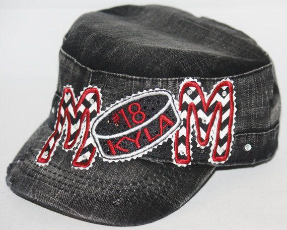 Custom HOCKEY MOM hat with dazzling rhinestones. PERSONALIZE ... f16b3cf21cb