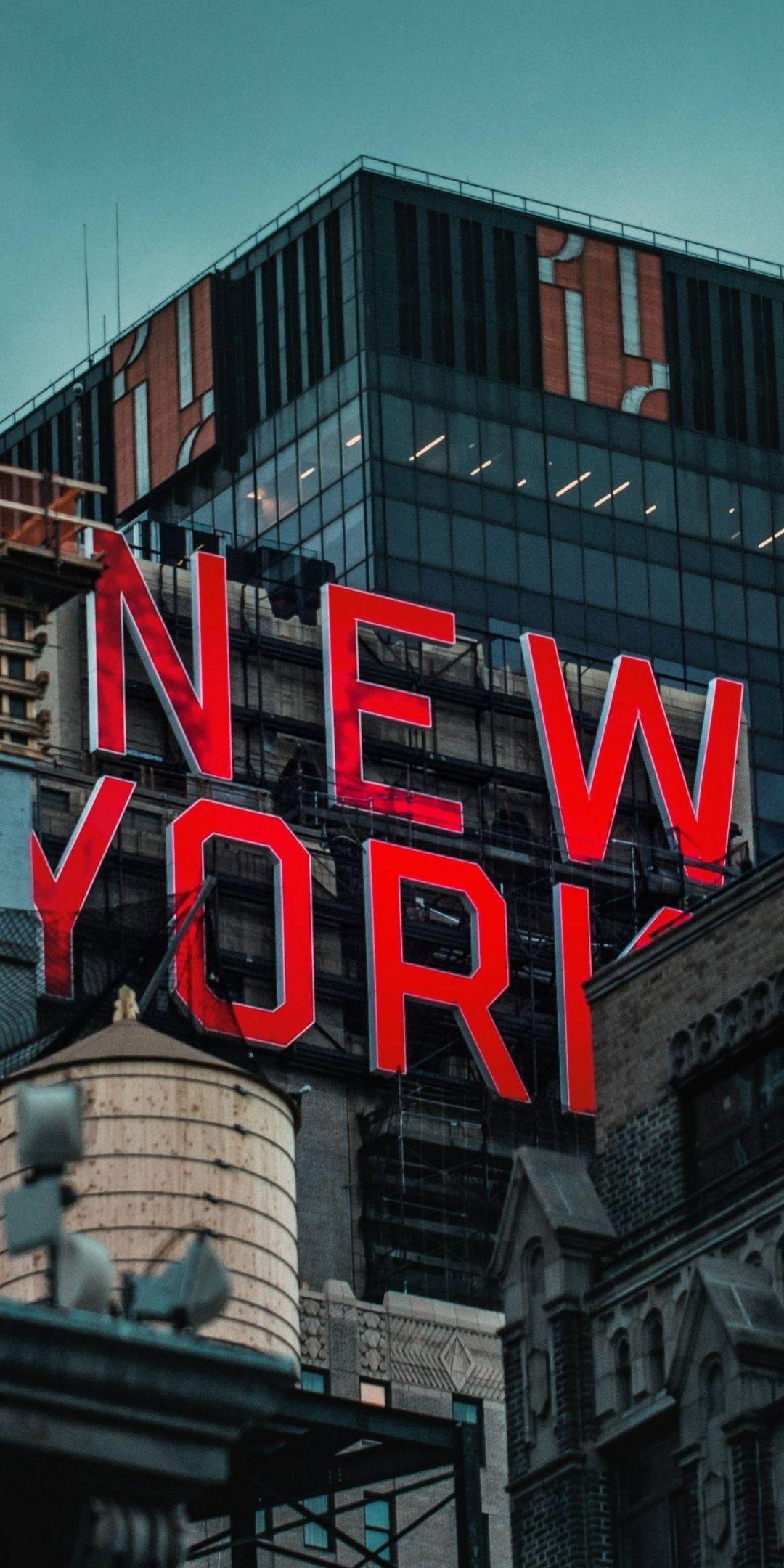 New York, inscription, buildings, 1080x2160 wallpaper