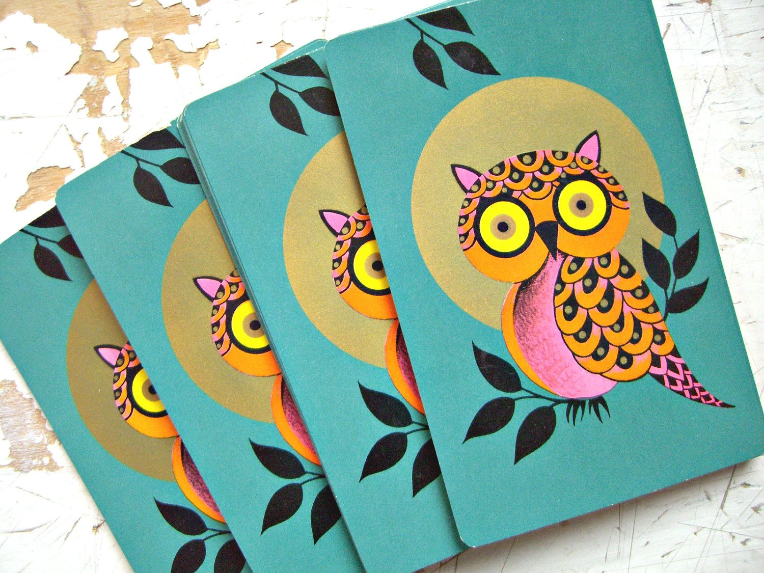Teal green owls vintage playing cards a set of 6 cards