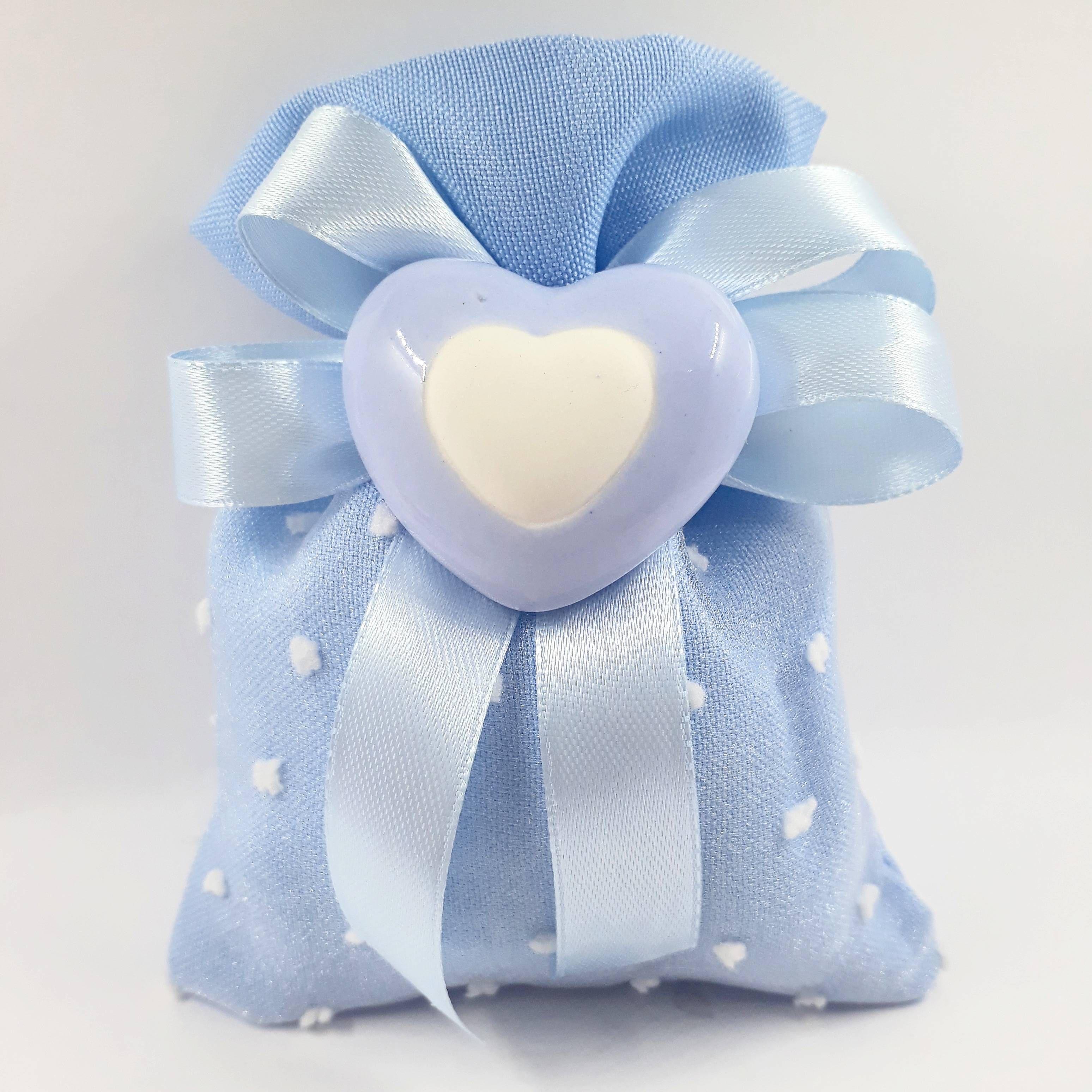 Sacchetto Porta Confetti Azzurro In Cotone Con Cuore In Ceramica Bomboniere Uniche Confetti Battesimo