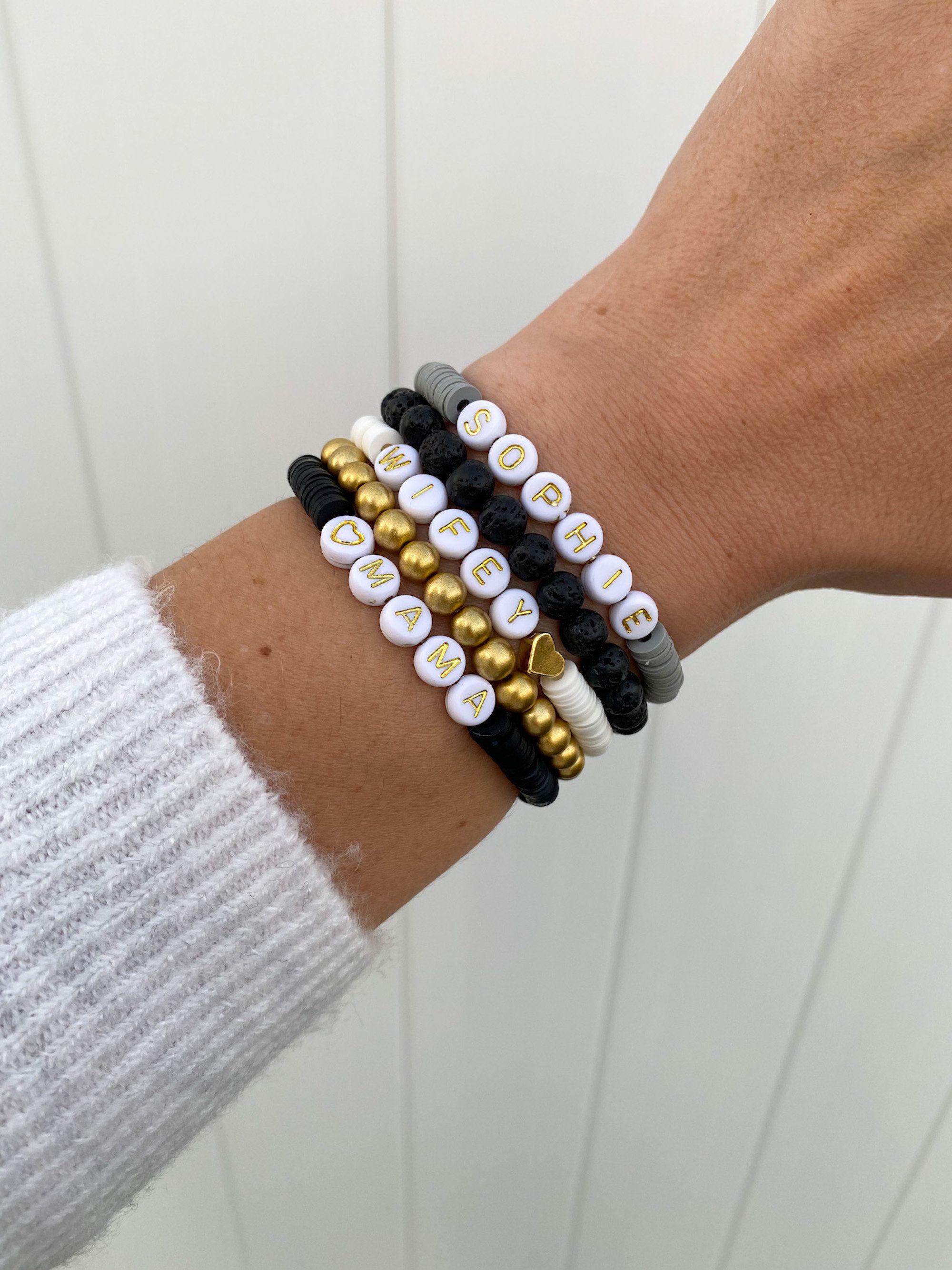 Black Heishi disc beaded bracelet